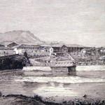 """Vista de """"La Isla desde Comayaguela"""", el el proceso de construcción del Teatro Cervantes - Grabado Cortesía de Jorge Amaya"""