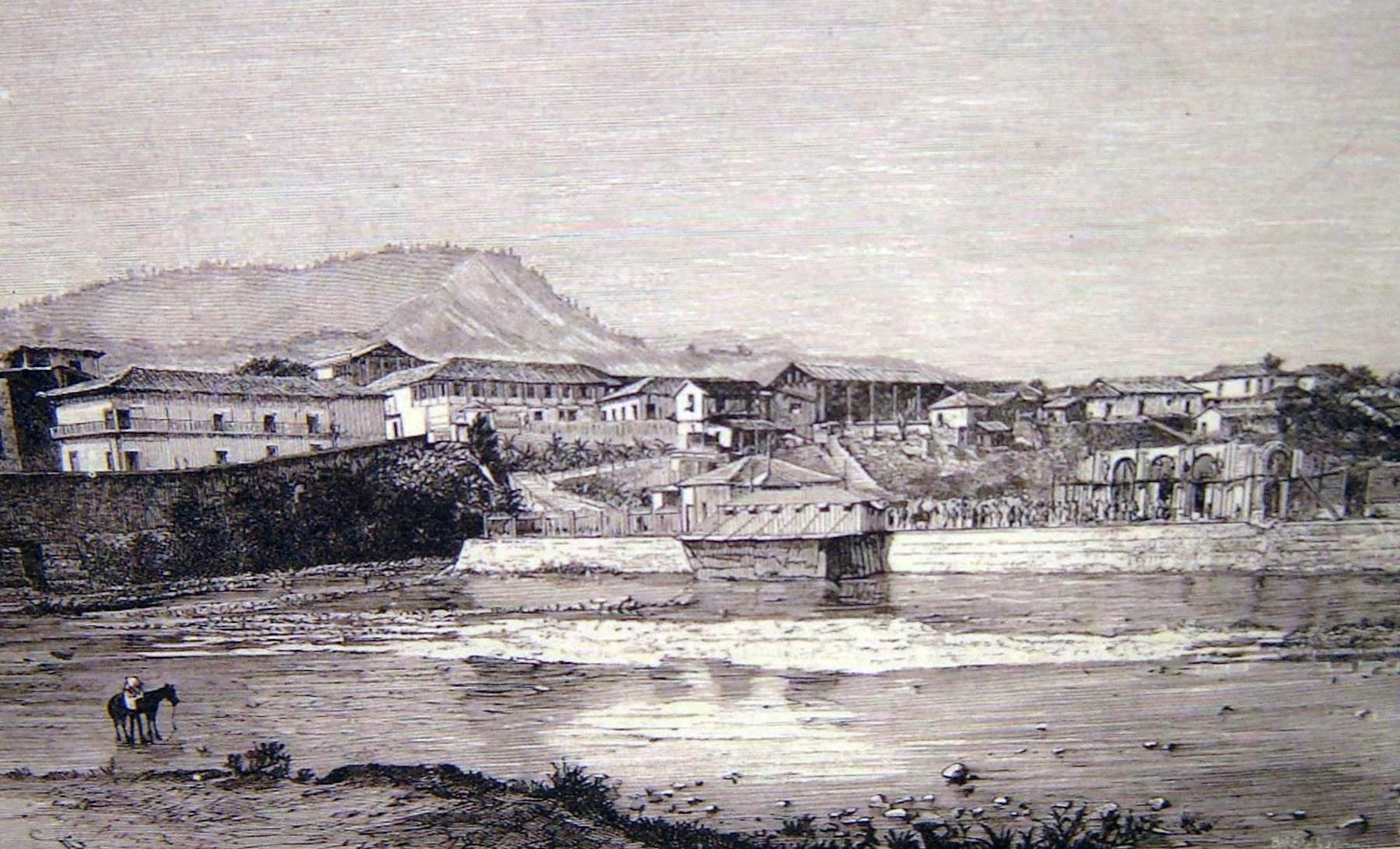 """Vista de """"La Isla desde Comayaguela"""", el el proceso de construcción del Teatro Cervantes – Grabado Cortesía de Jorge Amaya"""